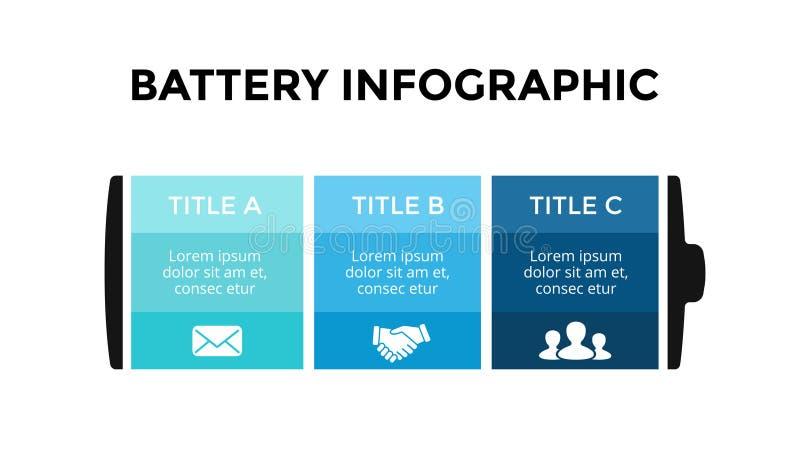 Molde infographic da bateria do vetor Molde da corrediça da apresentação Conceito do negócio com 3 opções, peças, etapas ilustração royalty free