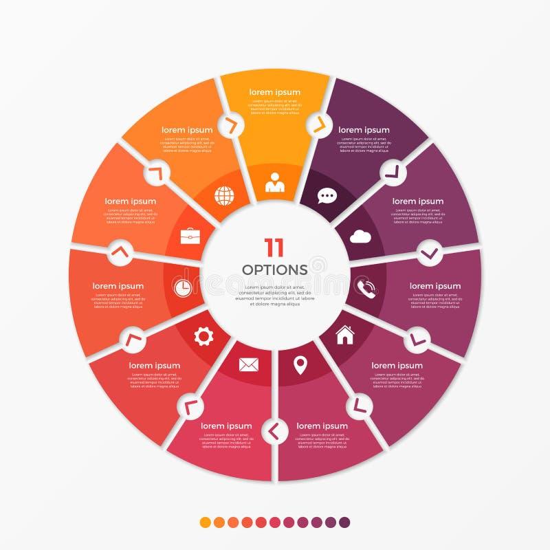 Molde infographic da carta do círculo com 11 opções ilustração stock