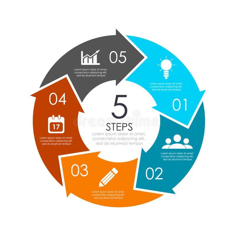 Molde infographic da carta do círculo do vetor com a seta para o diagrama do ciclo, gráfico, design web ilustração do vetor