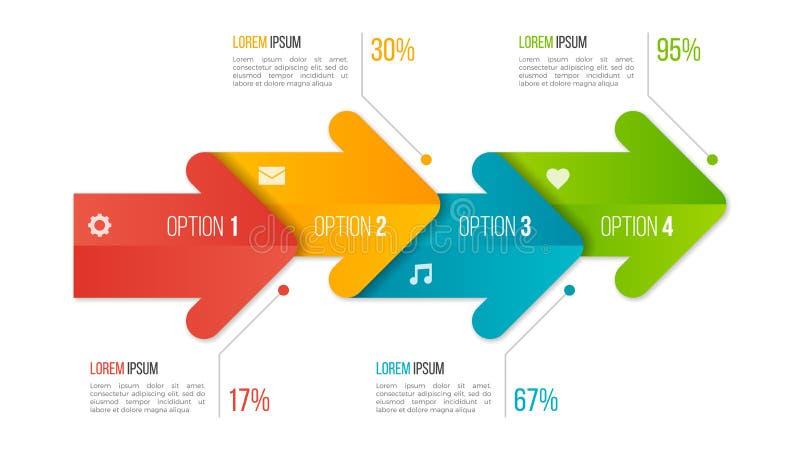 Molde infographic da carta do espaço temporal com setas 4 opções ilustração do vetor