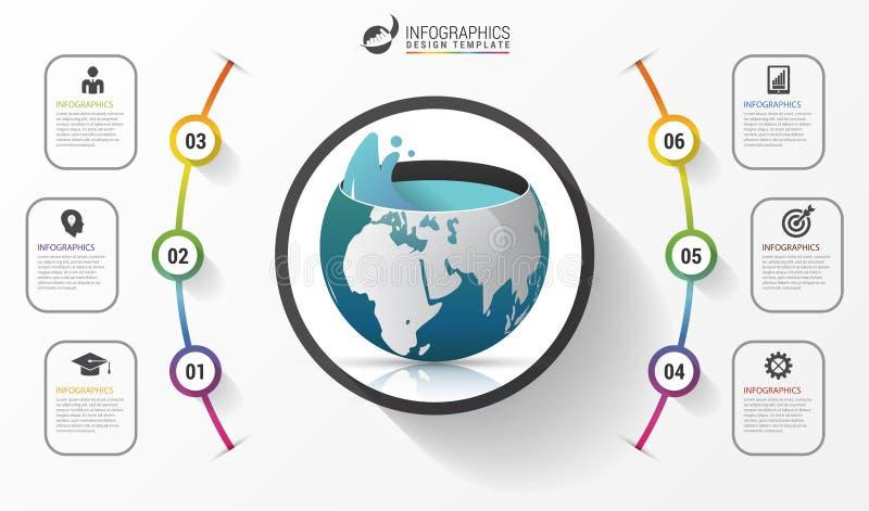 Molde infographic da ecologia abstrata Conceito do negócio Vetor ilustração royalty free