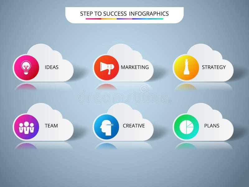 Molde infographic da forma bem sucedida da nuvem do conceito do negócio Infographics com ícones e elementos ilustração do vetor