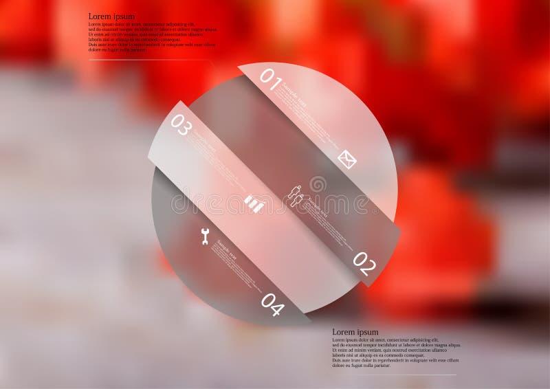 Molde infographic da ilustração com forma do círculo dividido oblíquo no fundo borrado ilustração do vetor