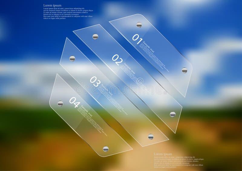 Molde infographic da ilustração com o hexágono de vidro dividido a quatro seções ilustração do vetor