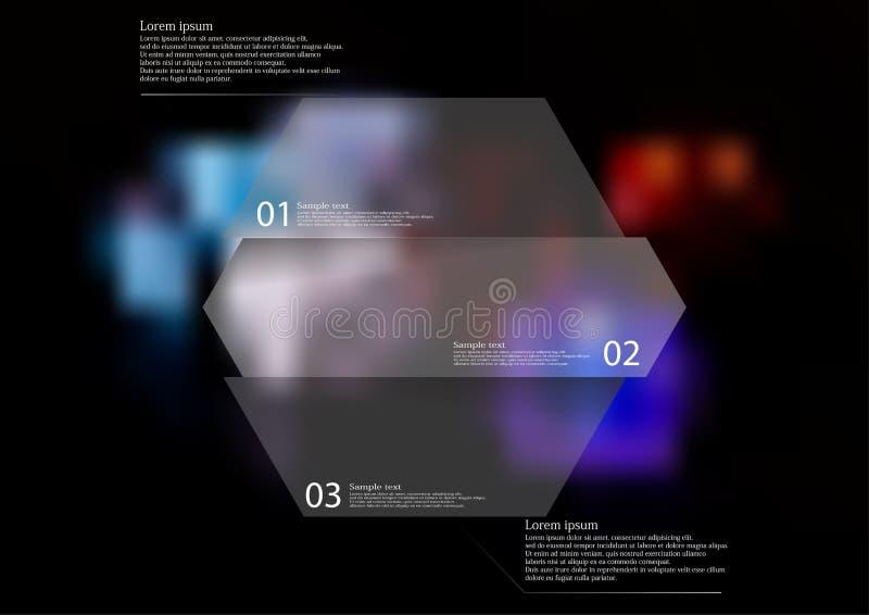 Molde infographic da ilustração com o hexágono dividido horizontalmente a três porções ilustração stock