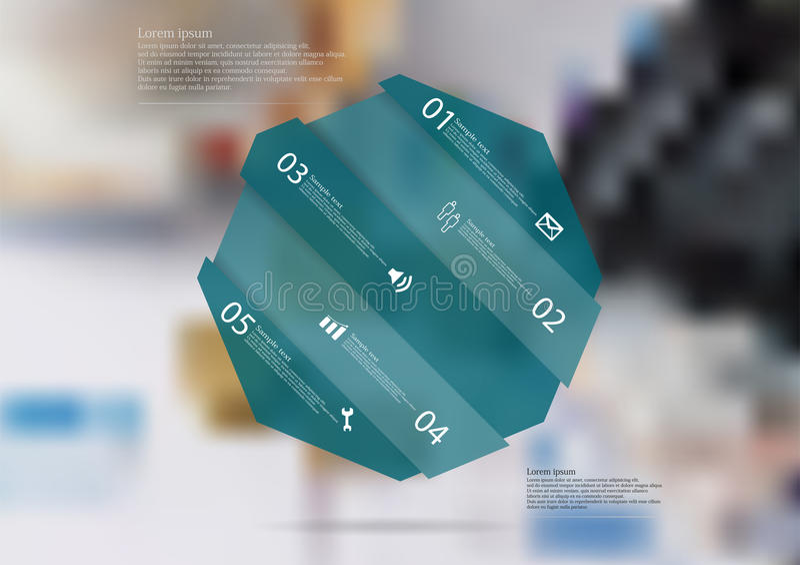 Molde infographic da ilustração com o oblíquo azul do octógono dividido a cinco porções ilustração do vetor