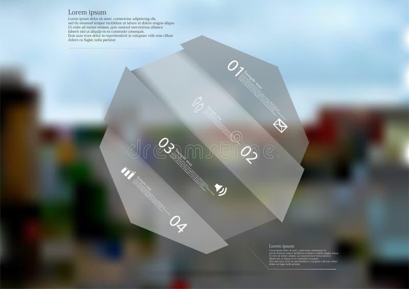 Molde infographic da ilustração com o oblíquo cinzento do octógono dividido a quatro porções ilustração do vetor
