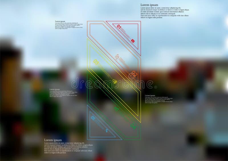 Molde infographic da ilustração com o oblíquo da barra dividido a cinco peças autônomas da cor ilustração stock