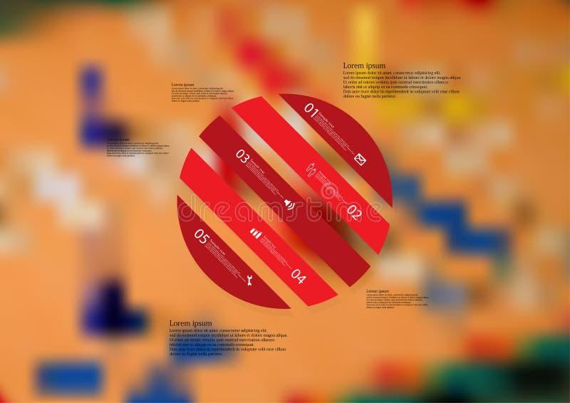 Molde infographic da ilustração com o oblíquo do círculo dividido a cinco porções autônomas vermelhas ilustração royalty free