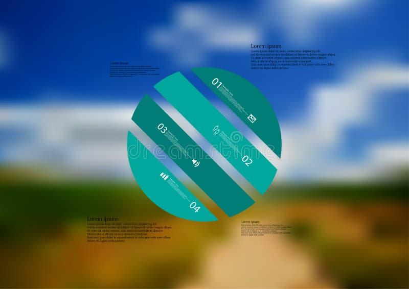 Molde infographic da ilustração com o oblíquo do círculo dividido a quatro porções autônomas verdes ilustração royalty free