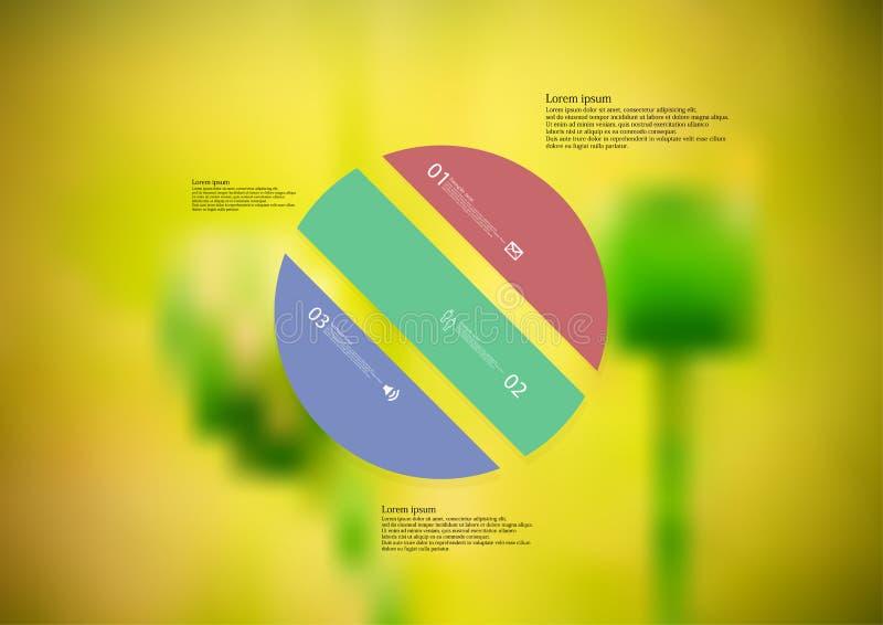 Molde infographic da ilustração com o oblíquo do círculo dividido a três peças autônomas da cor ilustração royalty free