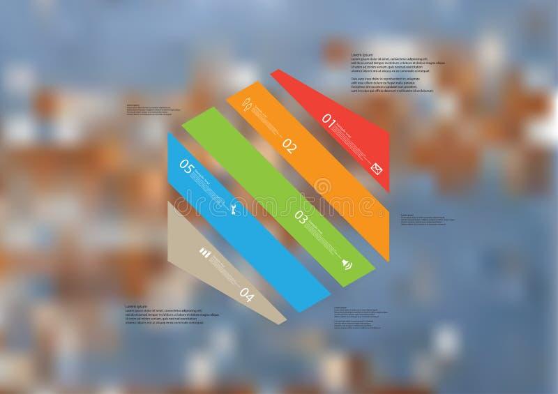 Molde infographic da ilustração com o oblíquo do hexágono dividido a cinco peças da cor ilustração stock