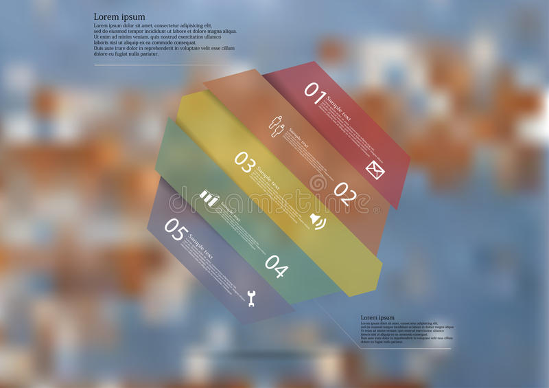Molde infographic da ilustração com o oblíquo do hexágono dividido a cinco porções ilustração stock