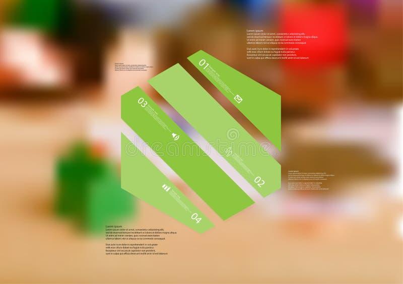 Molde infographic da ilustração com o oblíquo do hexágono dividido a quatro porções verdes ilustração stock