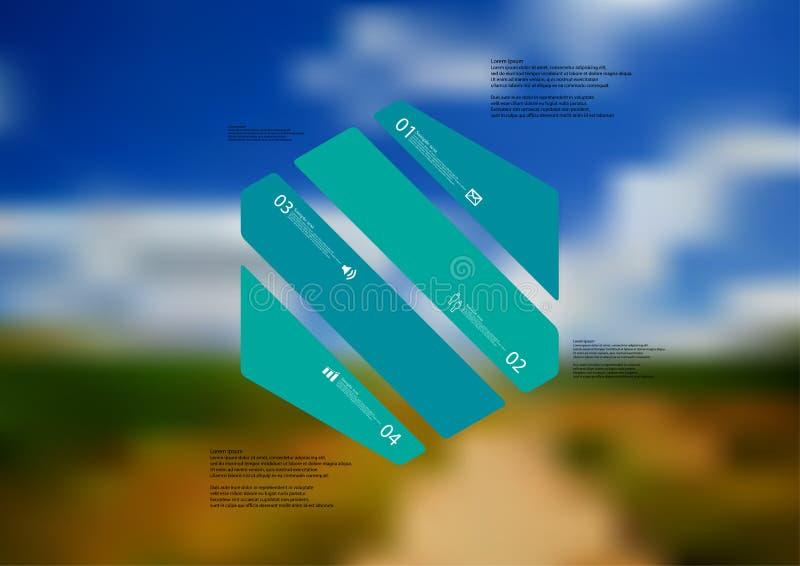 Molde infographic da ilustração com o oblíquo do hexágono dividido a quatro porções verdes ilustração royalty free