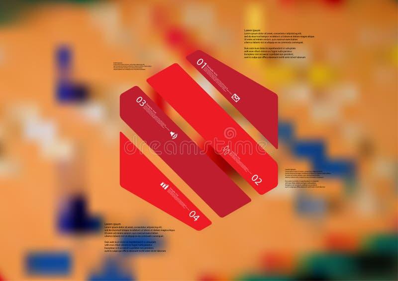 Molde infographic da ilustração com o oblíquo do hexágono dividido a quatro porções vermelhas ilustração do vetor