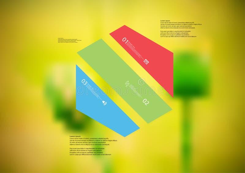 Molde infographic da ilustração com o oblíquo do hexágono dividido a três peças da cor ilustração do vetor