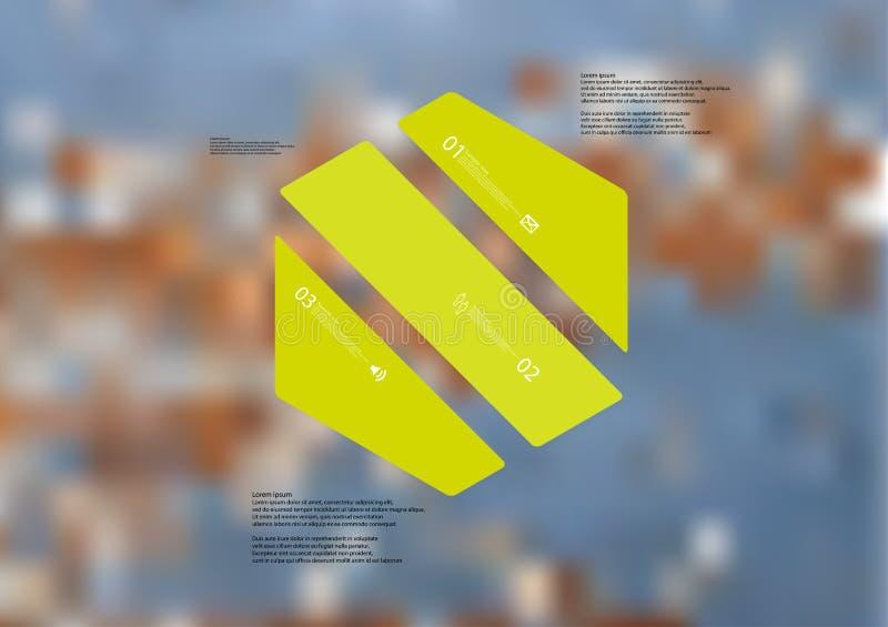 Molde infographic da ilustração com o oblíquo do hexágono dividido a três porções verdes ilustração stock