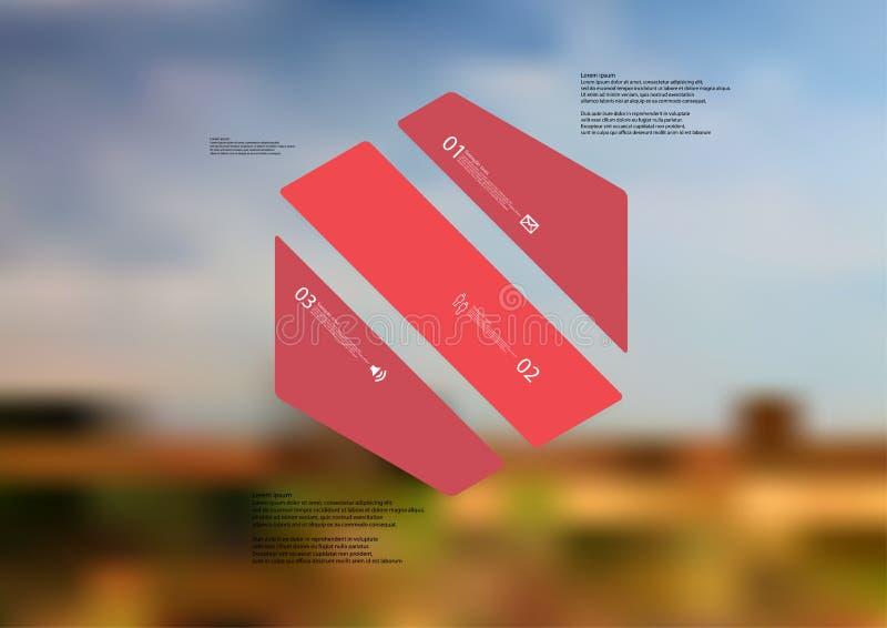 Molde infographic da ilustração com o oblíquo do hexágono dividido a três porções vermelhas ilustração stock