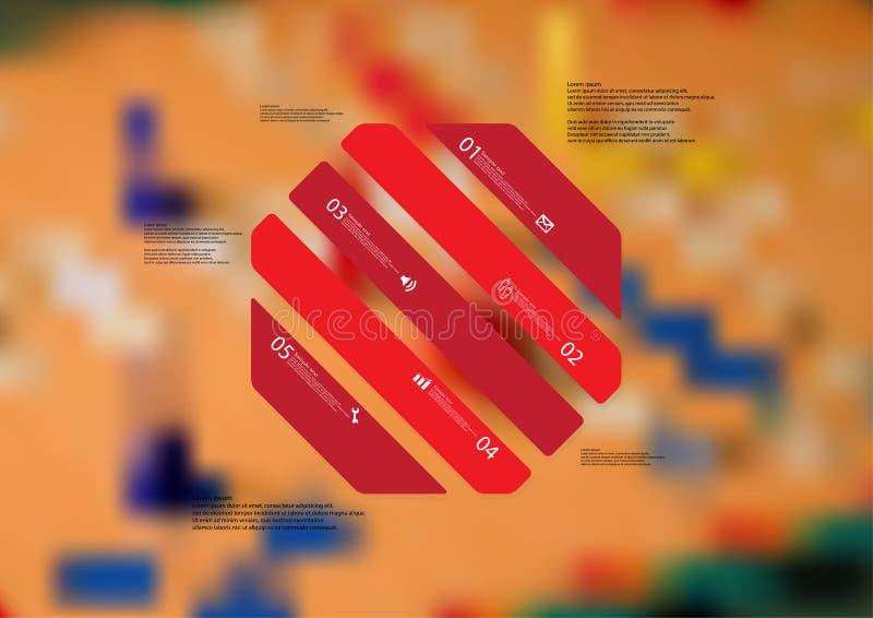 Molde infographic da ilustração com o oblíquo do octógono dividido a cinco porções vermelhas ilustração royalty free