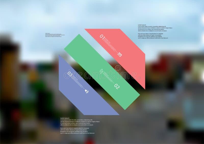Molde infographic da ilustração com o oblíquo do octógono dividido a três peças da cor ilustração stock