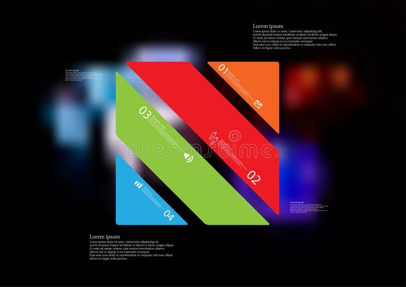 Molde infographic da ilustração com o oblíquo do retângulo dividido a quatro peças autônomas da cor ilustração do vetor