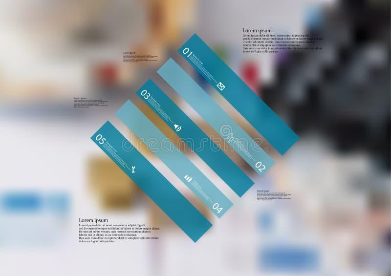 Molde infographic da ilustração com o oblíquo do rombo dividido a cinco porções azuis autônomas ilustração do vetor