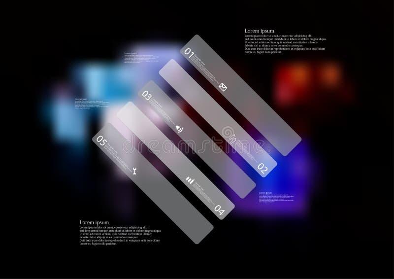 Molde infographic da ilustração com o oblíquo do rombo dividido a cinco porções cinzentas autônomas ilustração royalty free