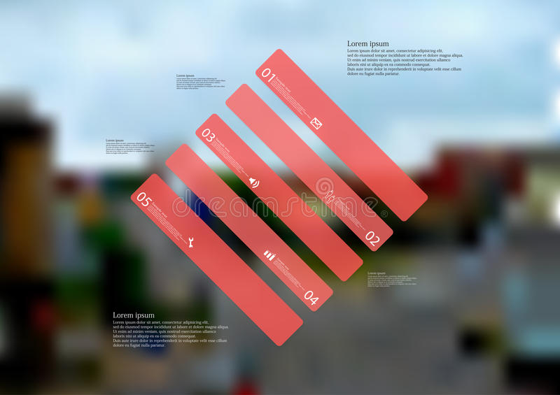 Molde infographic da ilustração com o oblíquo do rombo dividido a cinco porções vermelhas autônomas ilustração royalty free