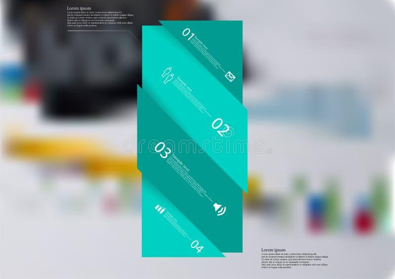 Molde infographic da ilustração com o oblíquo verde da barra dividido a quatro porções ilustração royalty free