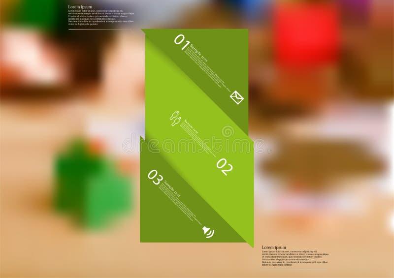 Molde infographic da ilustração com o oblíquo verde da barra dividido a três porções ilustração royalty free