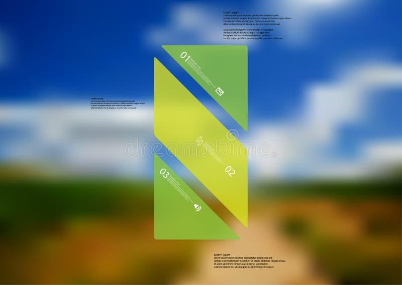 Molde infographic da ilustração com o oblíquo verde da barra dividido a três porções autônomas ilustração stock
