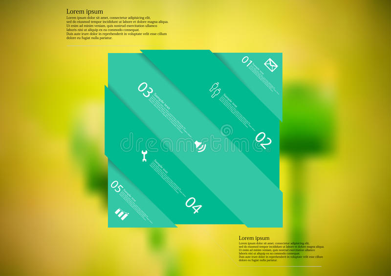 Molde infographic da ilustração com o oblíquo verde do retângulo dividido a cinco porções ilustração royalty free