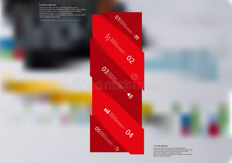 Molde infographic da ilustração com o oblíquo vermelho da barra dividido a cinco porções ilustração do vetor