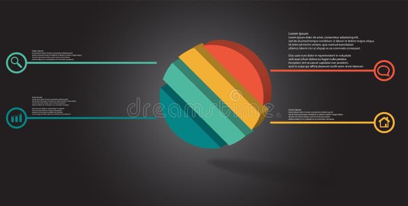 molde infographic da ilustração 3D com o anel gravado dividido a quatro porções ilustração stock