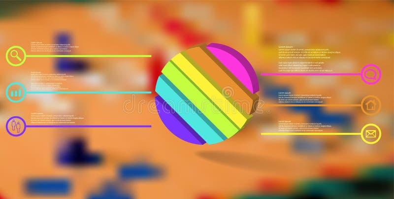 molde infographic da ilustração 3D com o anel gravado dividido a seis porções ilustração royalty free