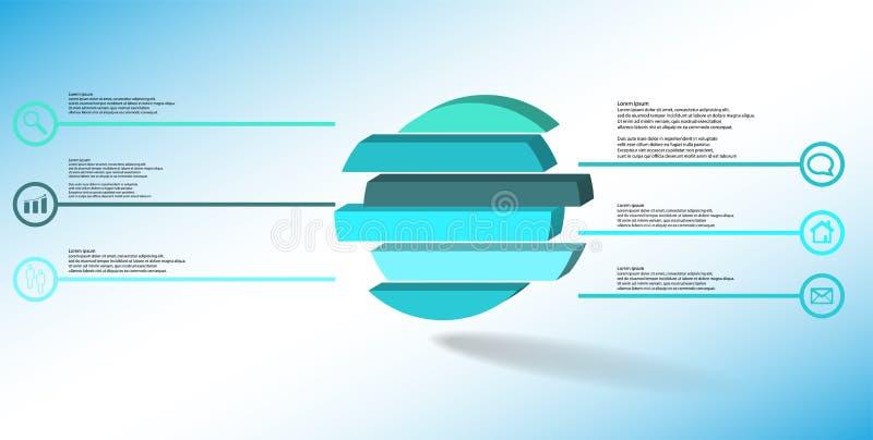 molde infographic da ilustração 3D com o anel gravado dividido a seis porções ilustração do vetor
