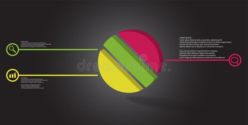 molde infographic da ilustração 3D com o anel gravado dividido a três porções ilustração royalty free