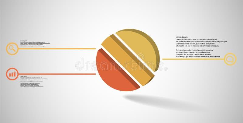molde infographic da ilustração 3D com o anel gravado dividido a três porções ilustração do vetor