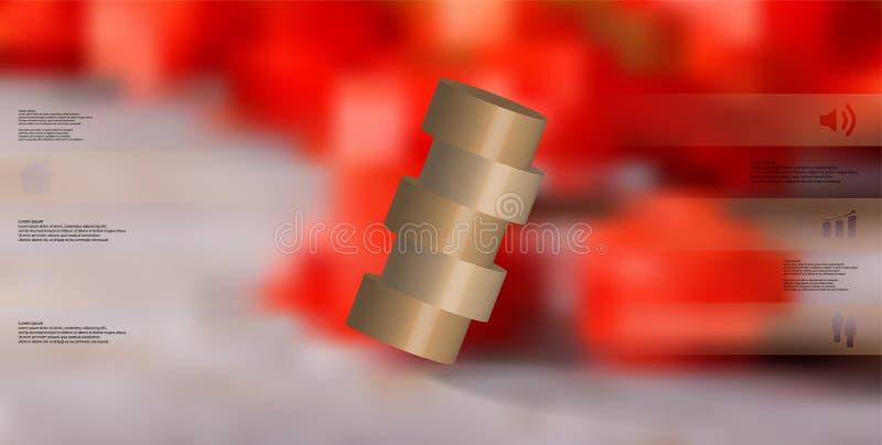 molde infographic da ilustração 3D com o cilindro cortado horizontalmente a cinco porções oblíquo arranjado ilustração stock