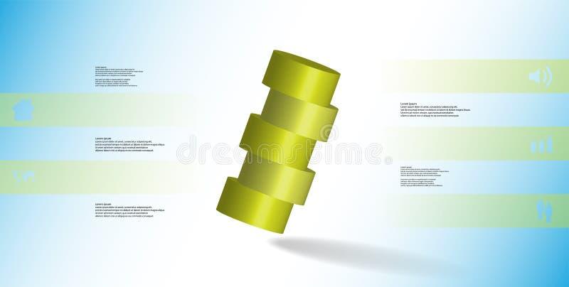 molde infographic da ilustração 3D com o cilindro cortado horizontalmente a cinco porções oblíquo arranjado ilustração royalty free