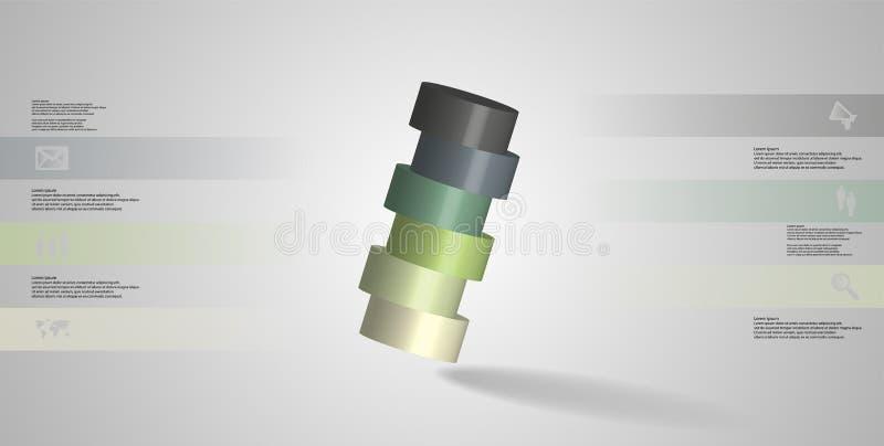 molde infographic da ilustração 3D com o cilindro cortado horizontalmente a seis porções oblíquo arranjado ilustração do vetor