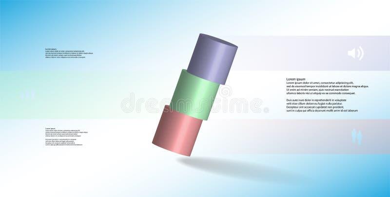 molde infographic da ilustração 3D com o cilindro cortado horizontalmente a três porções oblíquo arranjado ilustração royalty free