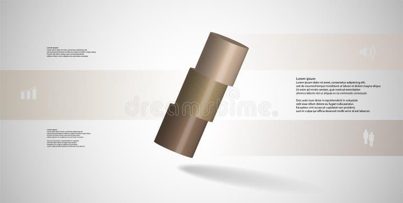 molde infographic da ilustração 3D com o cilindro cortado horizontalmente a três porções oblíquo arranjado ilustração do vetor