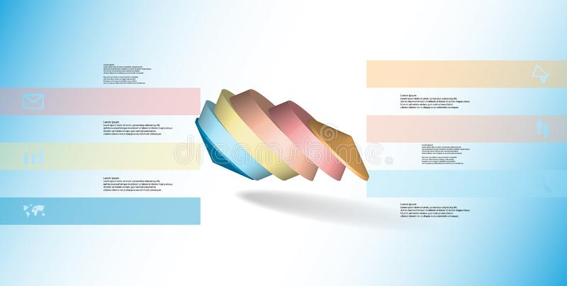 molde infographic da ilustração 3D com o octógono redondo dividido a seis porções ilustração do vetor