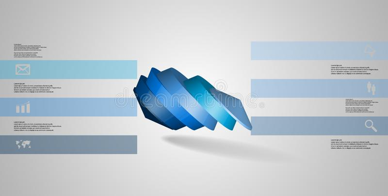 molde infographic da ilustração 3D com o octógono redondo dividido a seis porções ilustração royalty free