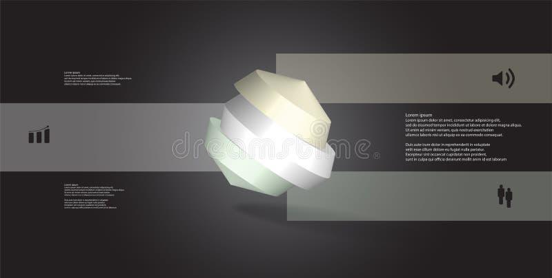 molde infographic da ilustração 3D com o octógono redondo dividido a três porções ilustração do vetor