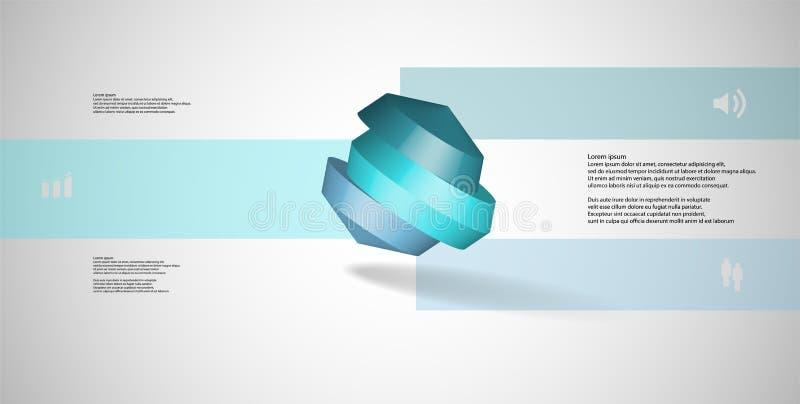 molde infographic da ilustração 3D com o octógono redondo dividido a três porções ilustração royalty free