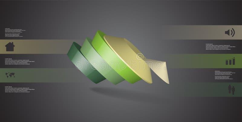molde infographic da ilustração 3D com o pentagon redondo dividido a cinco porções ilustração royalty free