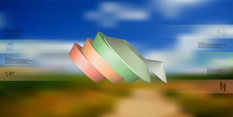 molde infographic da ilustração 3D com o pentagon redondo dividido a cinco porções ilustração do vetor